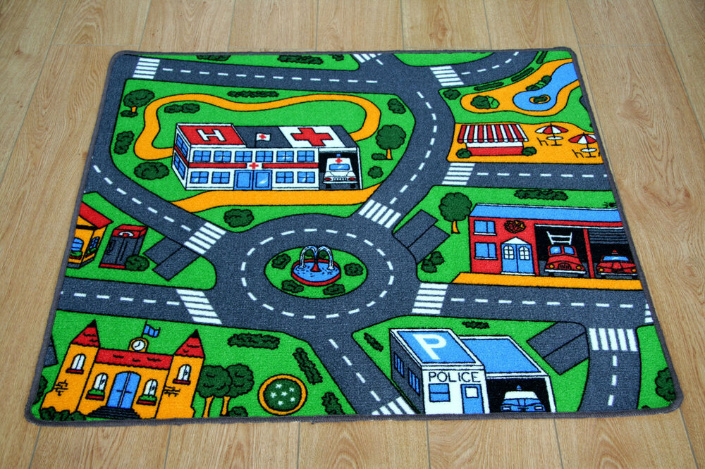 Kids Bedroom Car Play Mat Rug 100cm X 94cm Car Racing Road