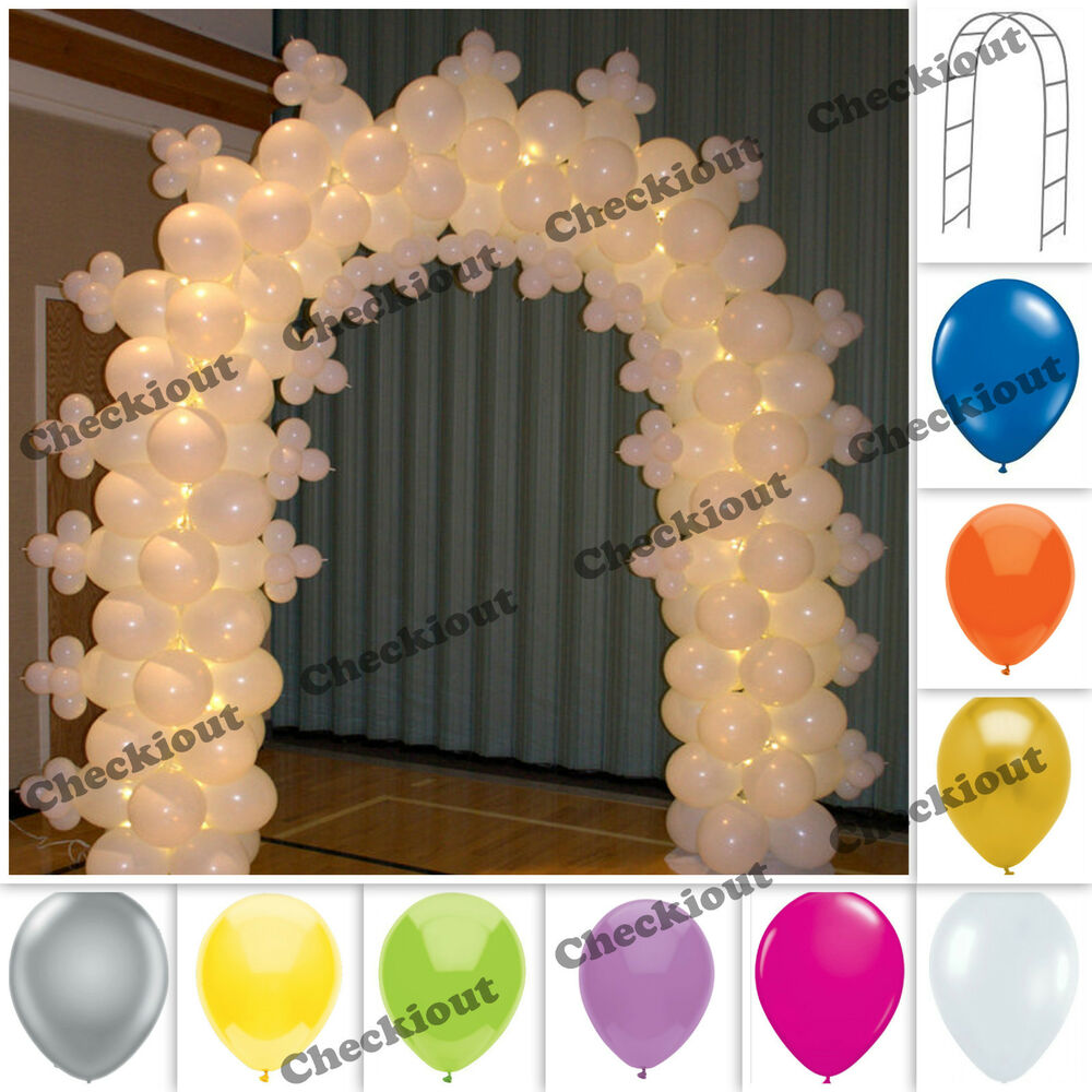 90 white metal arch 144 pc balloon wedding party prom for Arch balloons decoration
