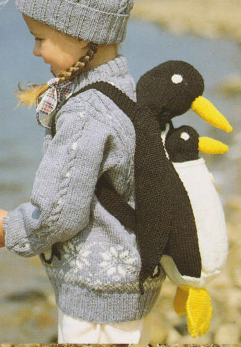 child sweater and hat penguin bag /toy dk knitting pattern ...