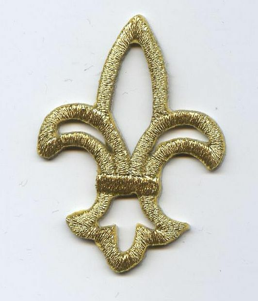 Iron On Embroidered Applique Patch Open Metallic Gold