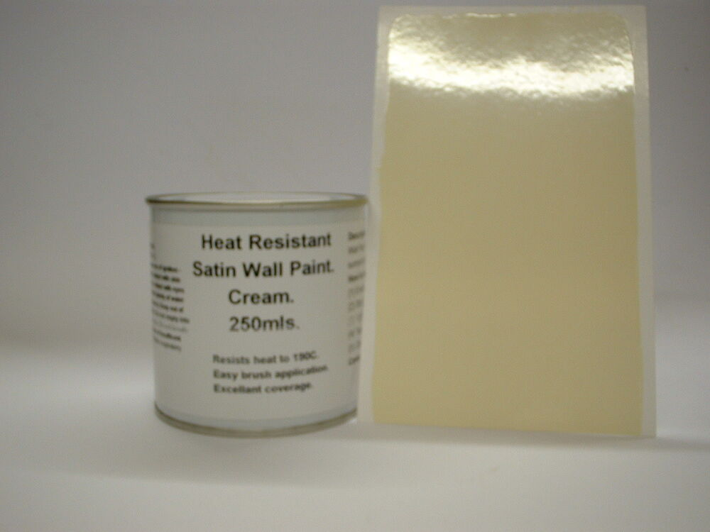 1 X 250ml Satin Cream Heat Resistant Wall Paint For Wood Burner Stove Alcove Ebay