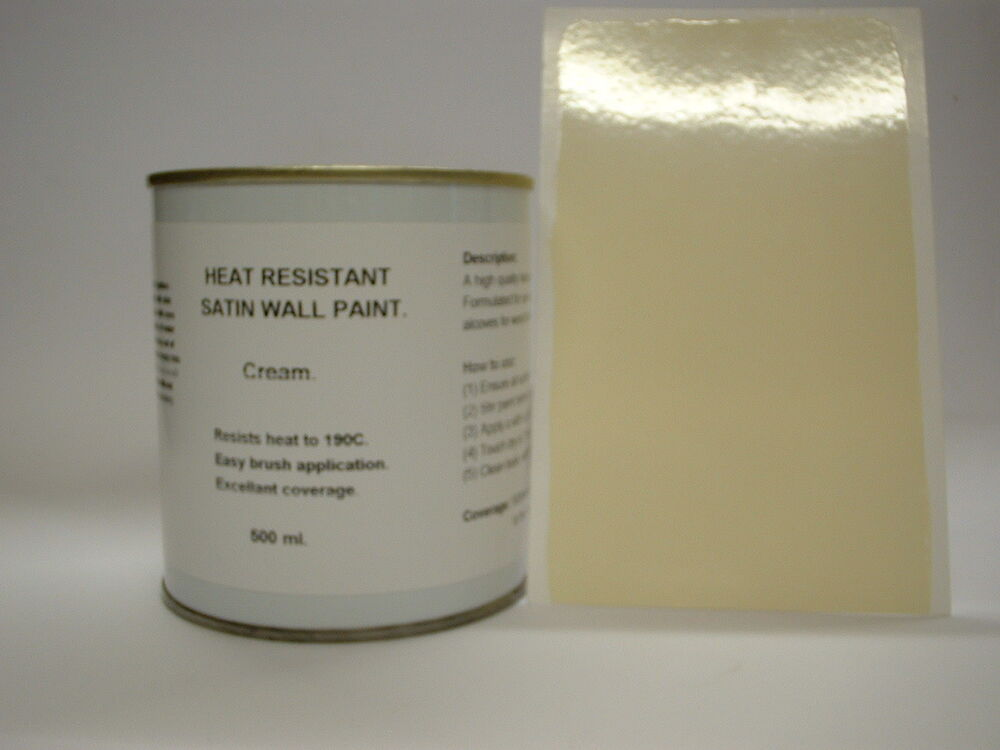 1 X 500ml Satin Cream Heat Resistant Wall Paint For Wood Burner Stove Alcove Ebay