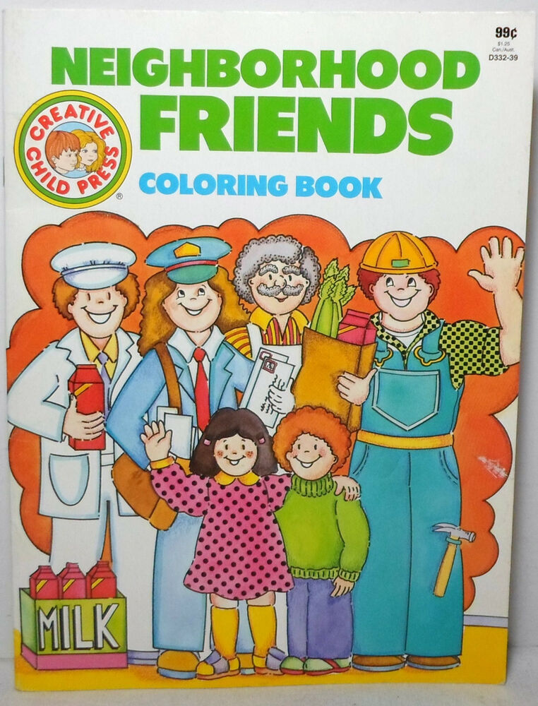 NEIGHBORHOOD FRIENDS VTG COLORING BOOK PRINTED IN CANADA