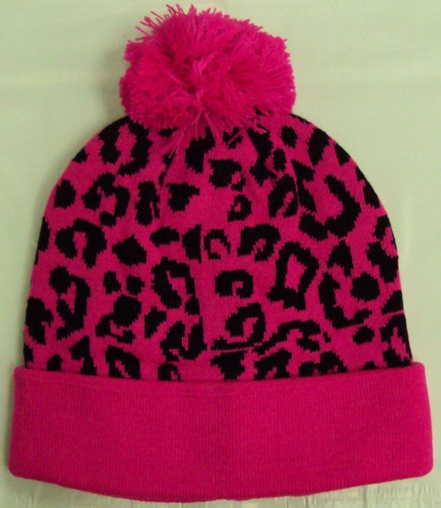 Zebra Print Knitting Pattern : Leopard cheetah print pattern hot pink warm knit beanie