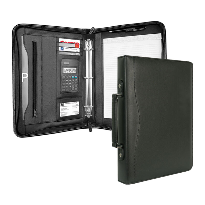 Simulated Leather 3-RING BINDER FOLDER PORTFOLIO ORGANIZER