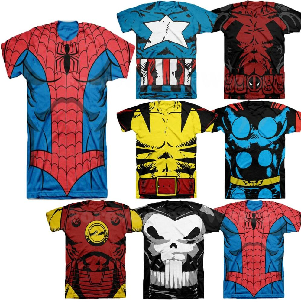 Men marvel dc comic book heroes costume graphic tee shirts for Comic t shirts online