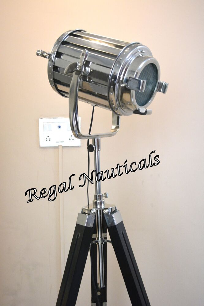 Hand made solid steel tripod floor lamp chrome searchlight for Made chrome floor lamp