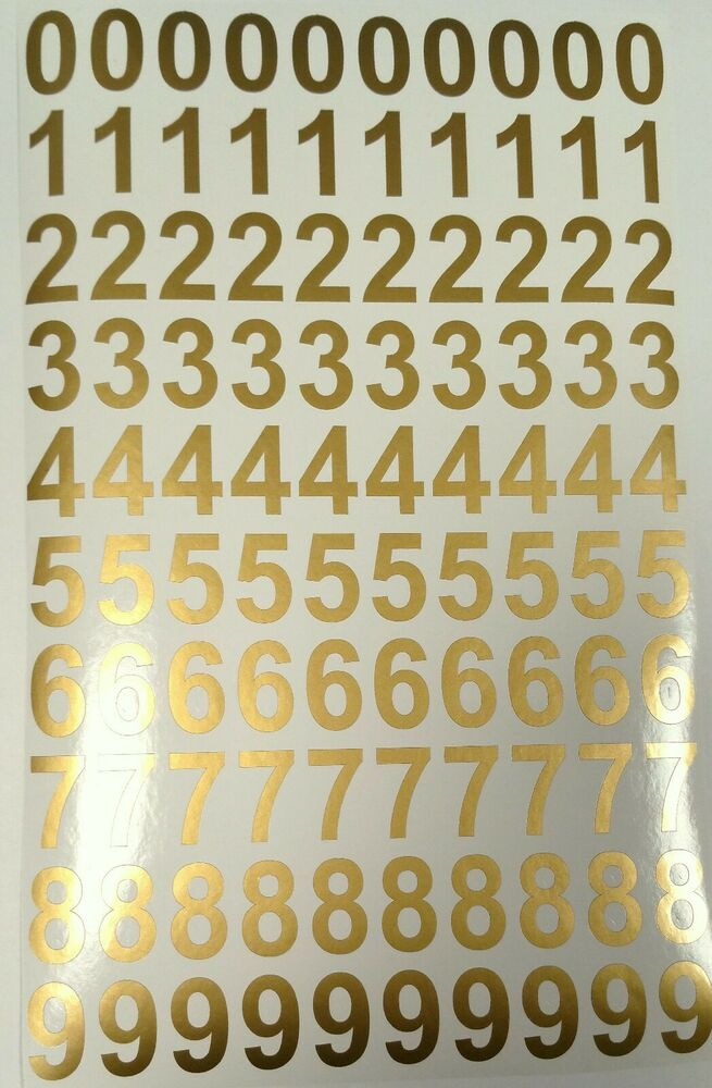 Gold Adhesive Vinyl Numbers 25mm High X 100 Ebay