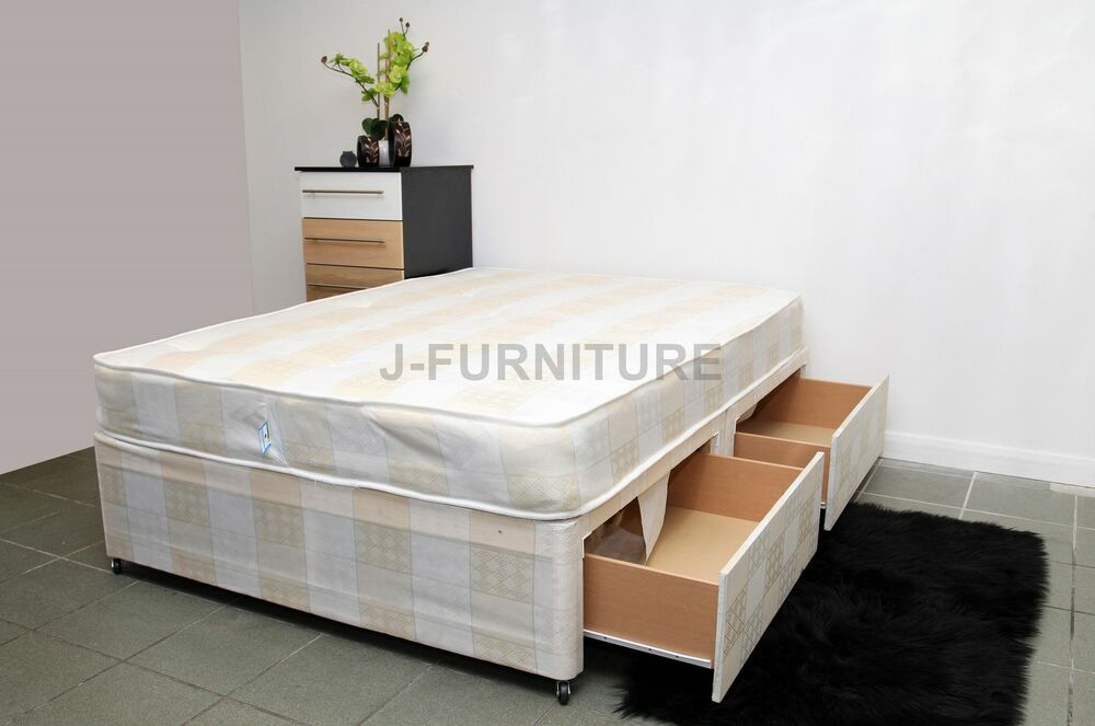 4ft6 double divan bed with deep quilt 8 39 39 mattress two for Divan bed with drawers