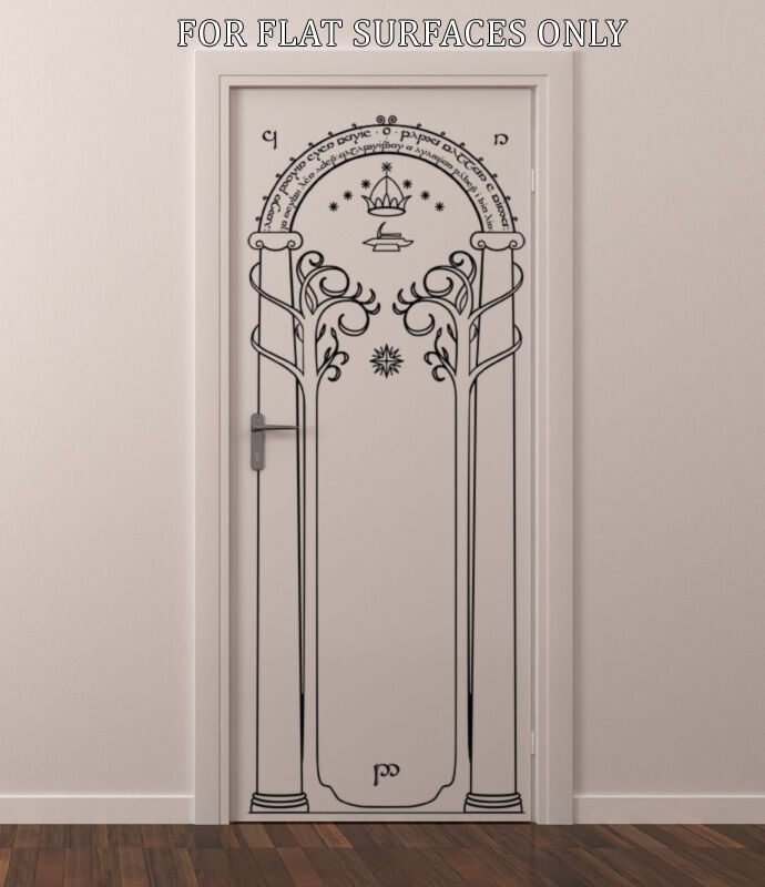 Lord of the rings gates of moria hobbit door or wall art for Door mural decals