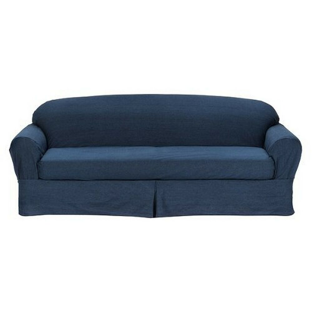 All cotton blue denim 2 piece sofa loveseat slipcover cove for Red denim sectional sofa