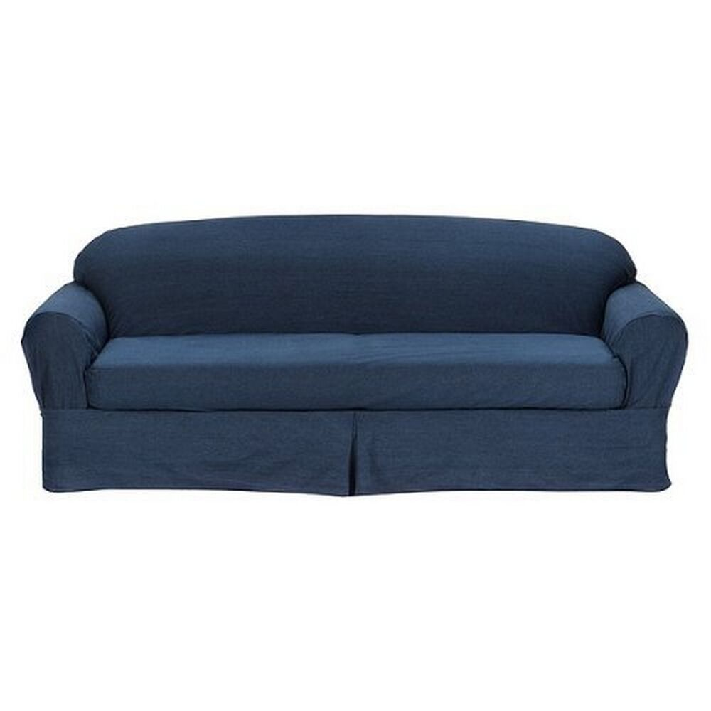 All cotton blue denim 2 piece sofa loveseat slipcover cove fits all 2 pillows ebay Blue loveseat slipcover