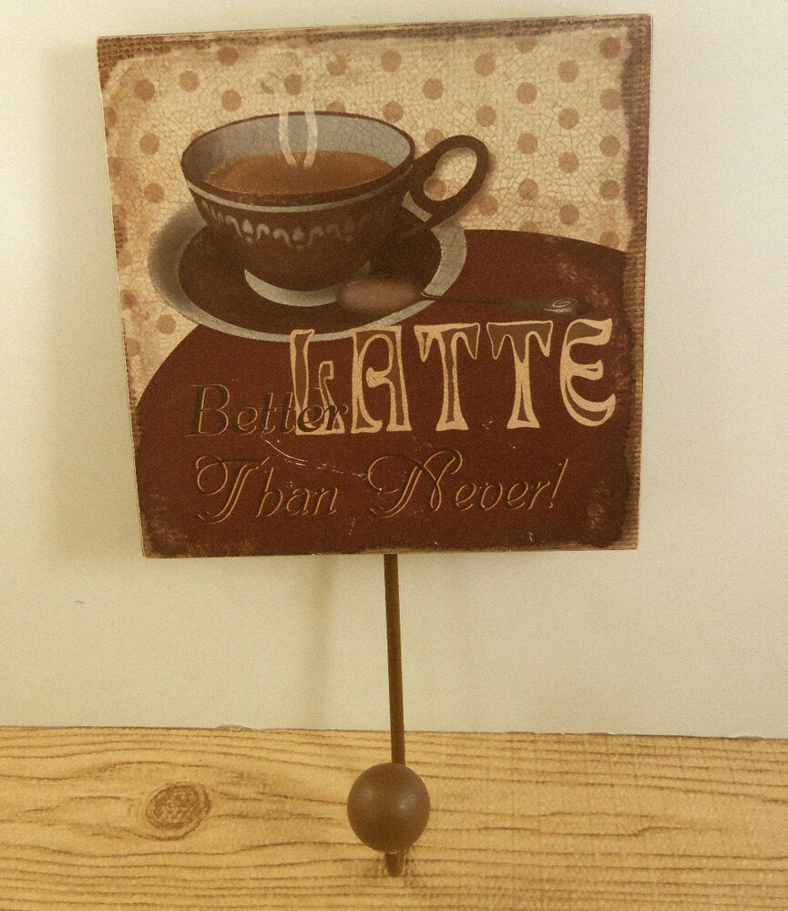 Espresso Coffee Cup Latte Cafe Key Ring Holder Wall Hook ...