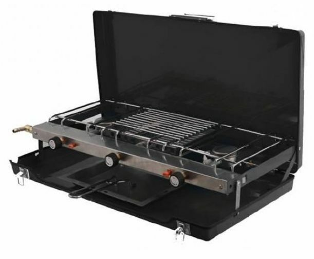 Gas Stove With Grill ~ Portable double gas cooker stove grill burner alfresco