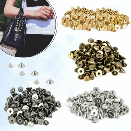 img-50 x Punk Spike Cone Screw Back Studs Brass Rivets Leather Crafts Belt DIY Beads