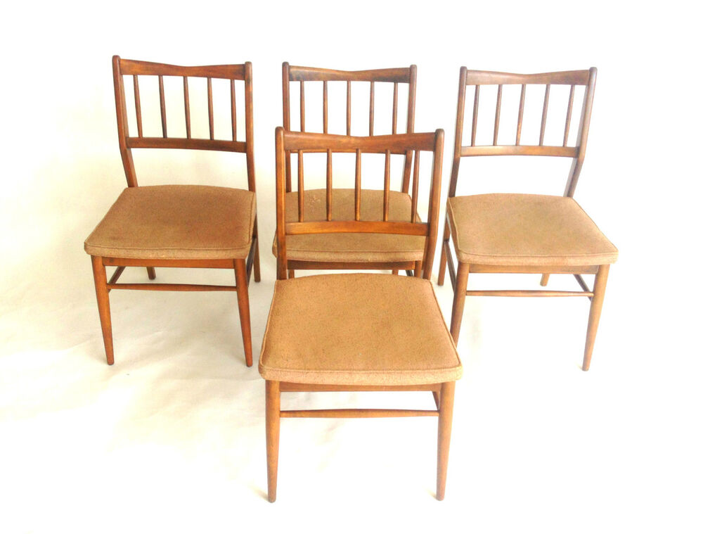 Mid Century Danish Modern Walnut Set 4 1950s Dining Chairs
