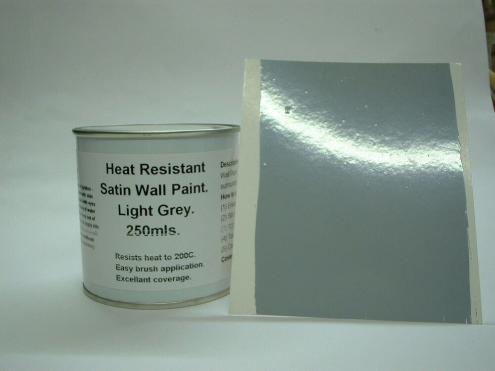 250ml Satin Light Grey Heat Resistant Wall Paint For Wood Burner Stove Alcove Ebay