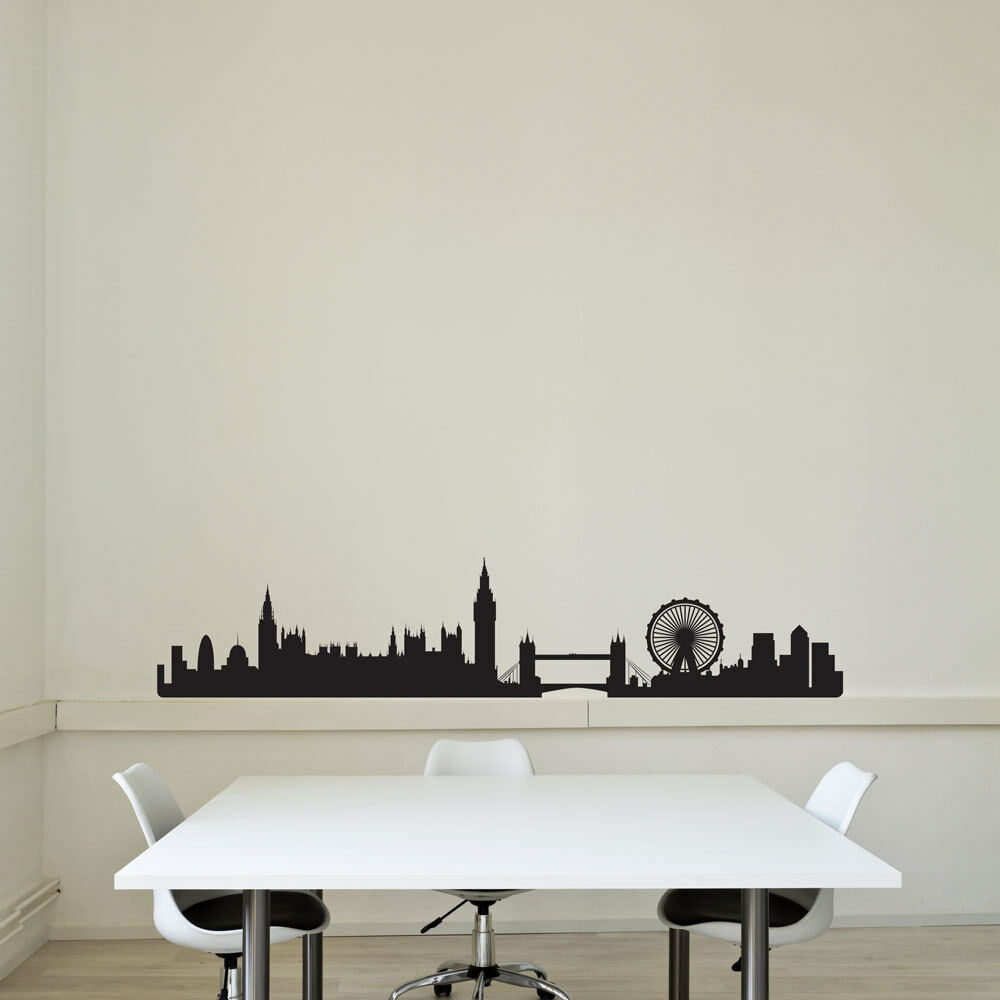 London city skyline vinyl wall art decal for home decor for Home decorations london