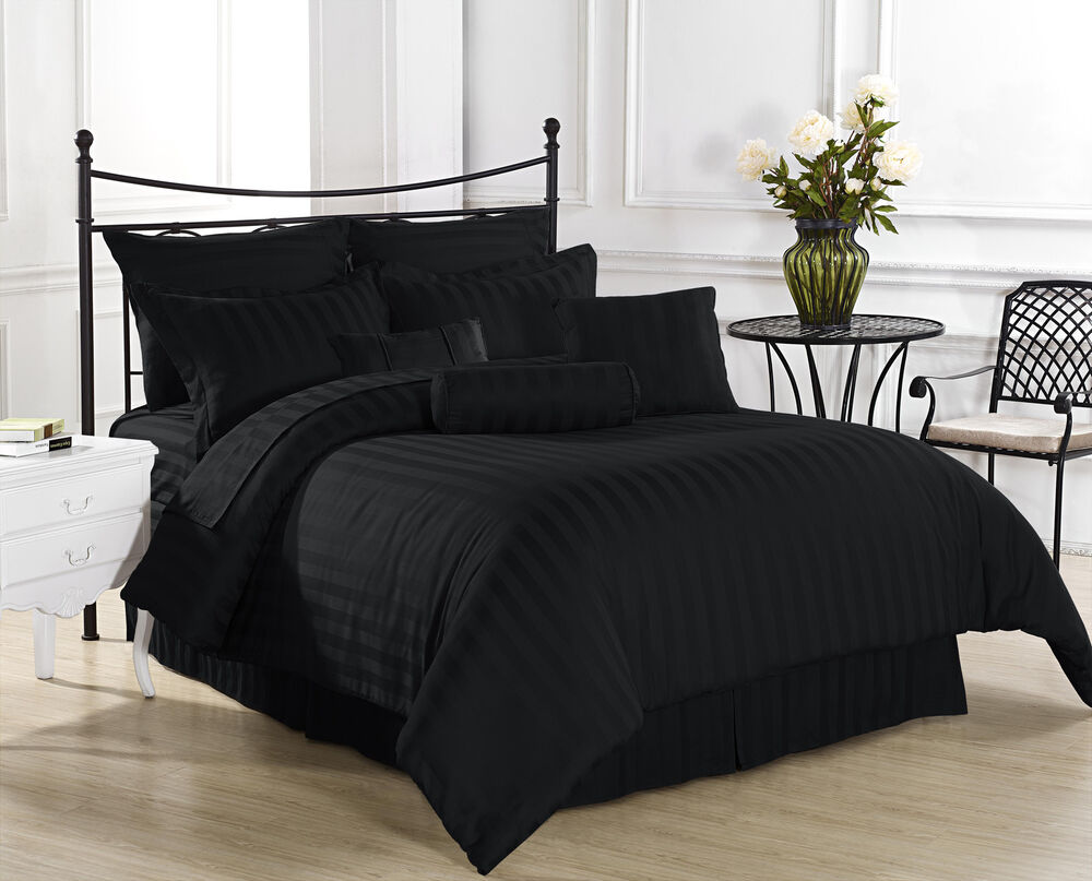 Royal Calico Black 7pc Comforter Set Damask Stripes 100