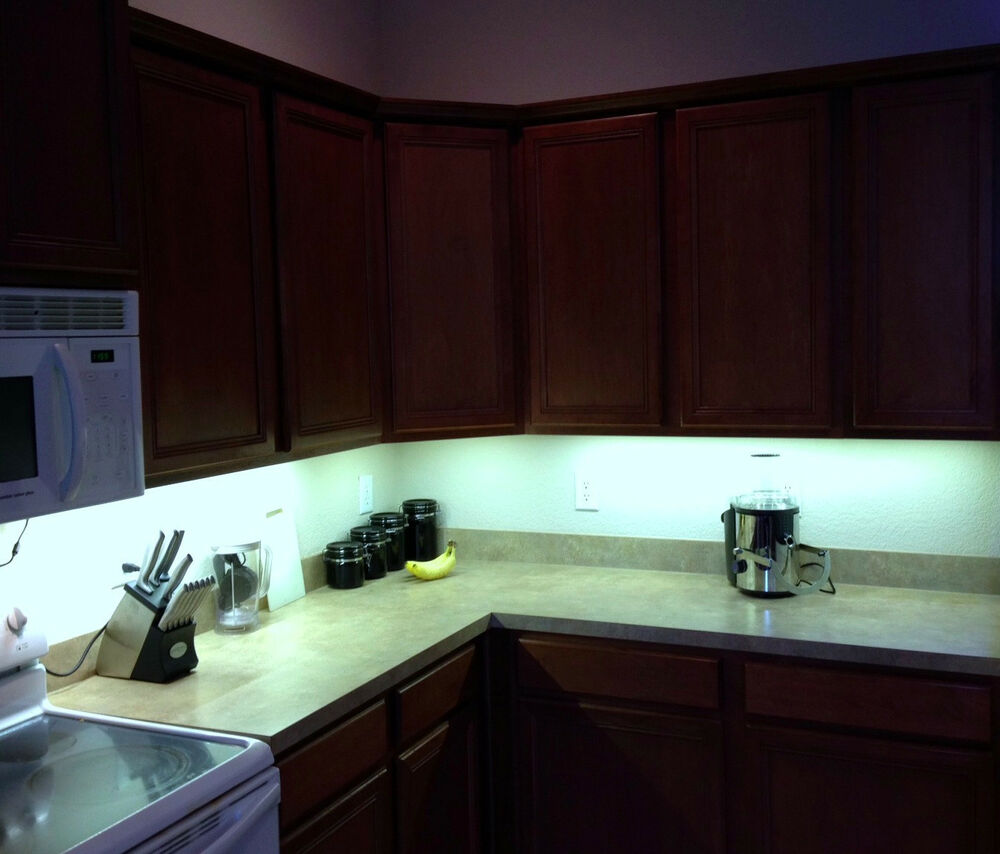kitchen under cabinet 5050 bright lighting kit cool white led strip tape light ebay. Black Bedroom Furniture Sets. Home Design Ideas