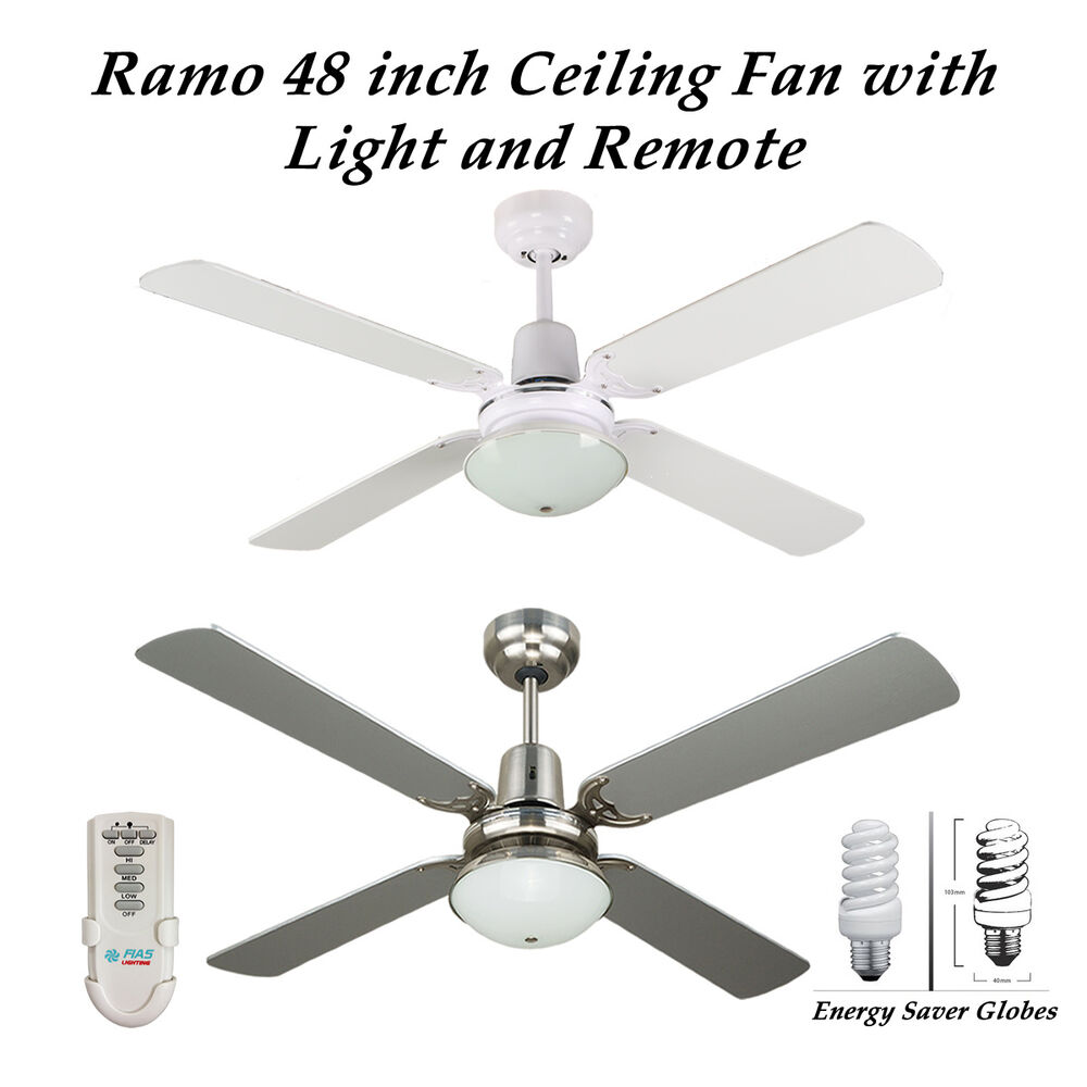 Fias Ramo 48 Inch Ceiling Fan With Light Amp Remote Control