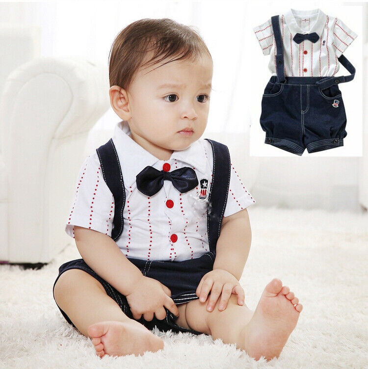 Baby Boy Bow Tie Waistcoat Bodysuit Outfit Christening