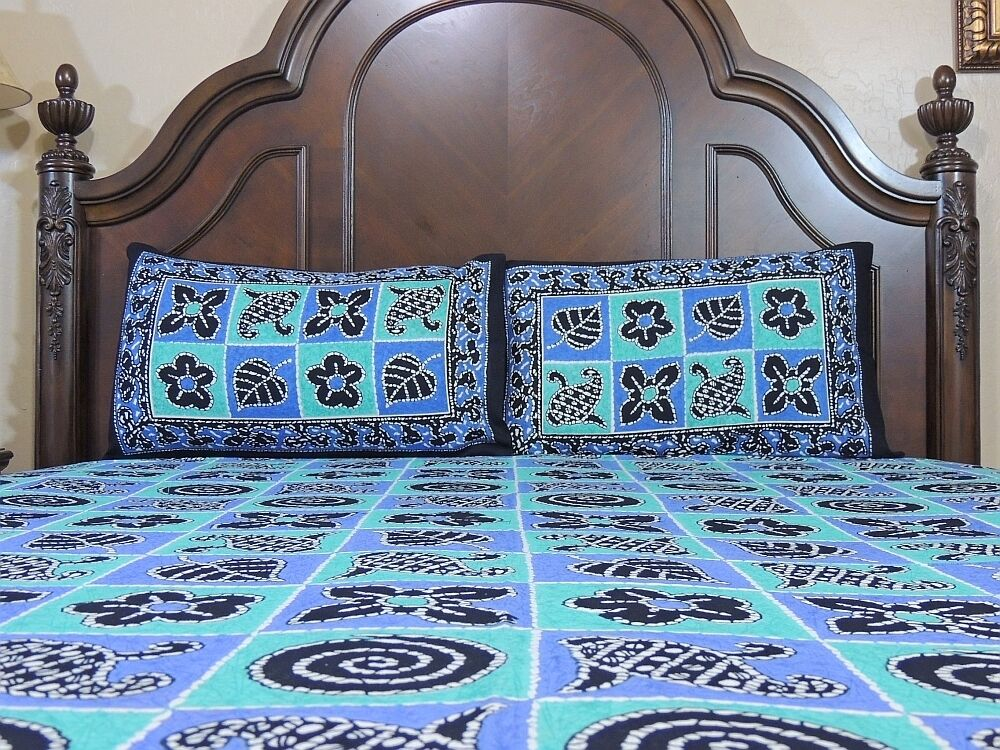 Decorative cotton print bedsheet indian blue bedding 3p for Decorative bed quilts