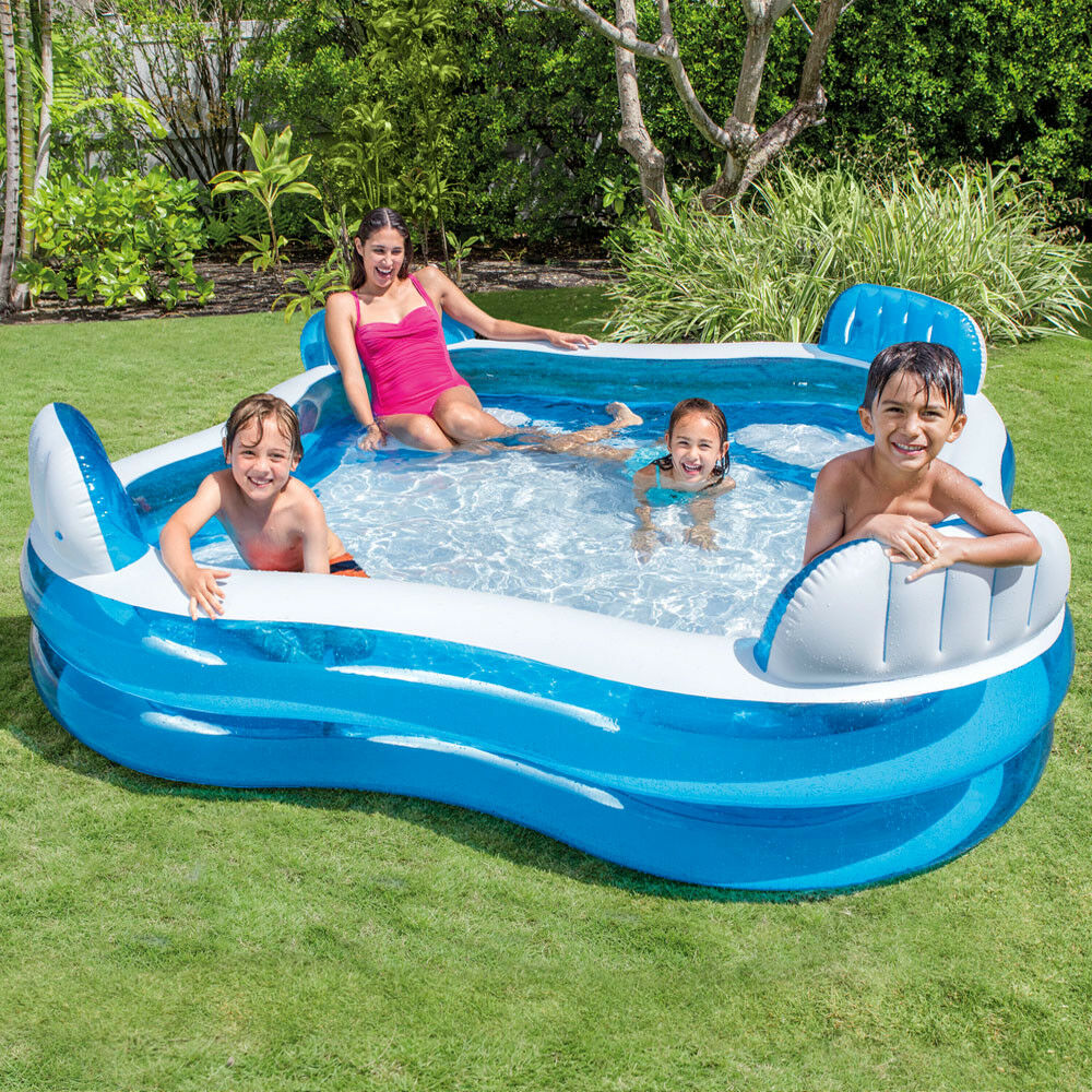intex swim center lounge family swimming pool mit getr nkehalter blau ebay. Black Bedroom Furniture Sets. Home Design Ideas