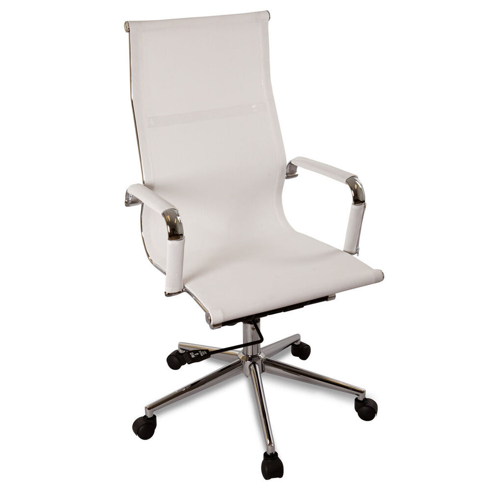 Executive ergonomic conference computer desk office task chair ebay - New White Modern Ergonomic Mesh High Back Executive