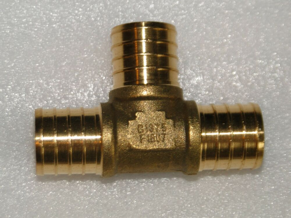 Quot pex tee brass lead free crimp fitting plumbing heating