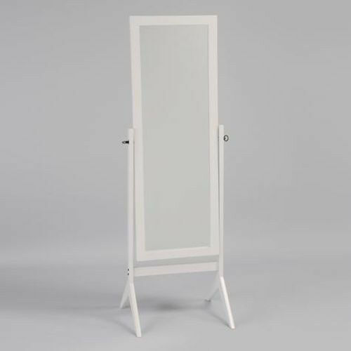 Swivel full length wood cheval floor mirror white finish for Black floor length mirror