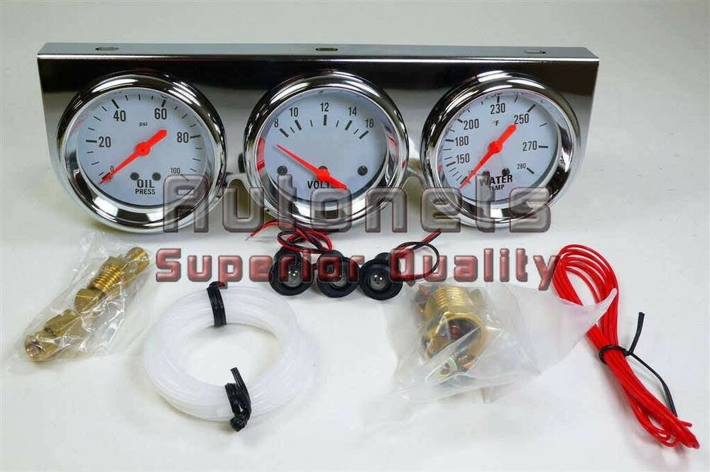 Electronic Voltmeter Gauges Oil And Water : Chrome steel oil pressure voltage water temperature triple