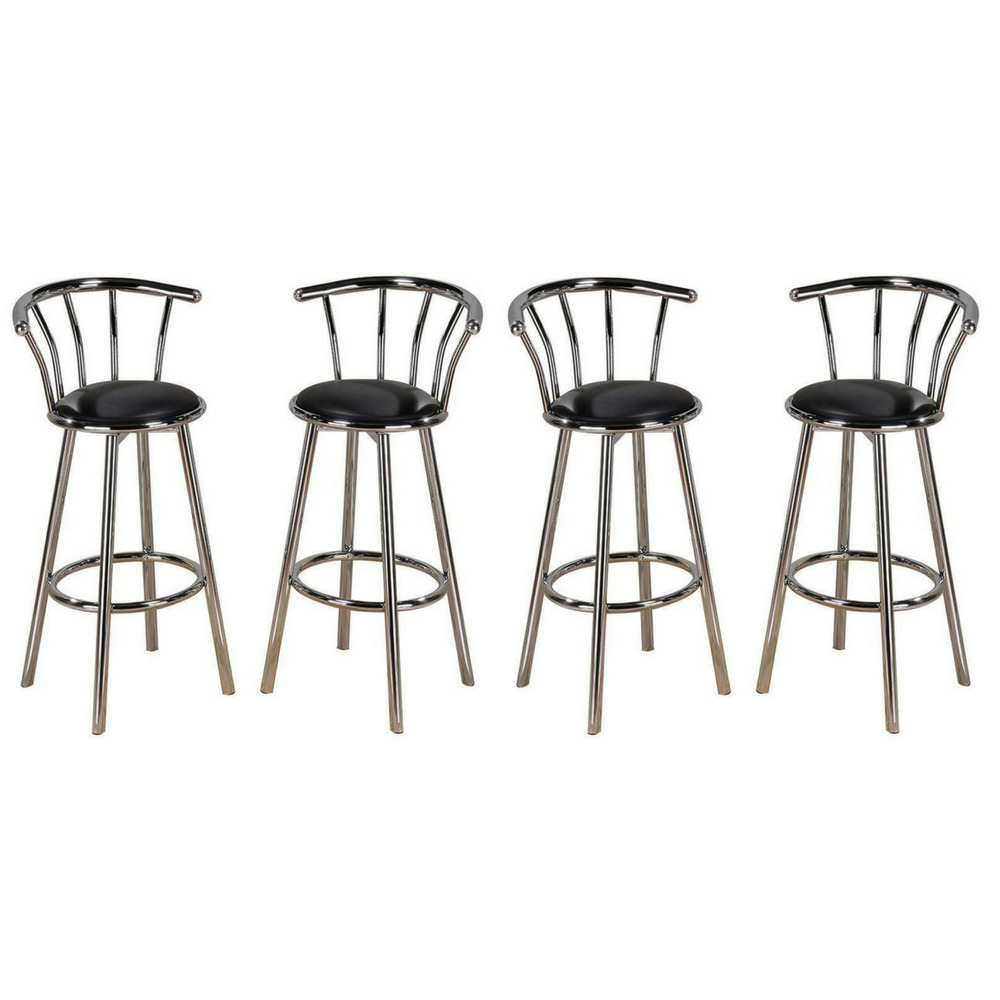 Chrome Bar Stools ~ New indoor set of chrome swivel black vinyl seat pub bar