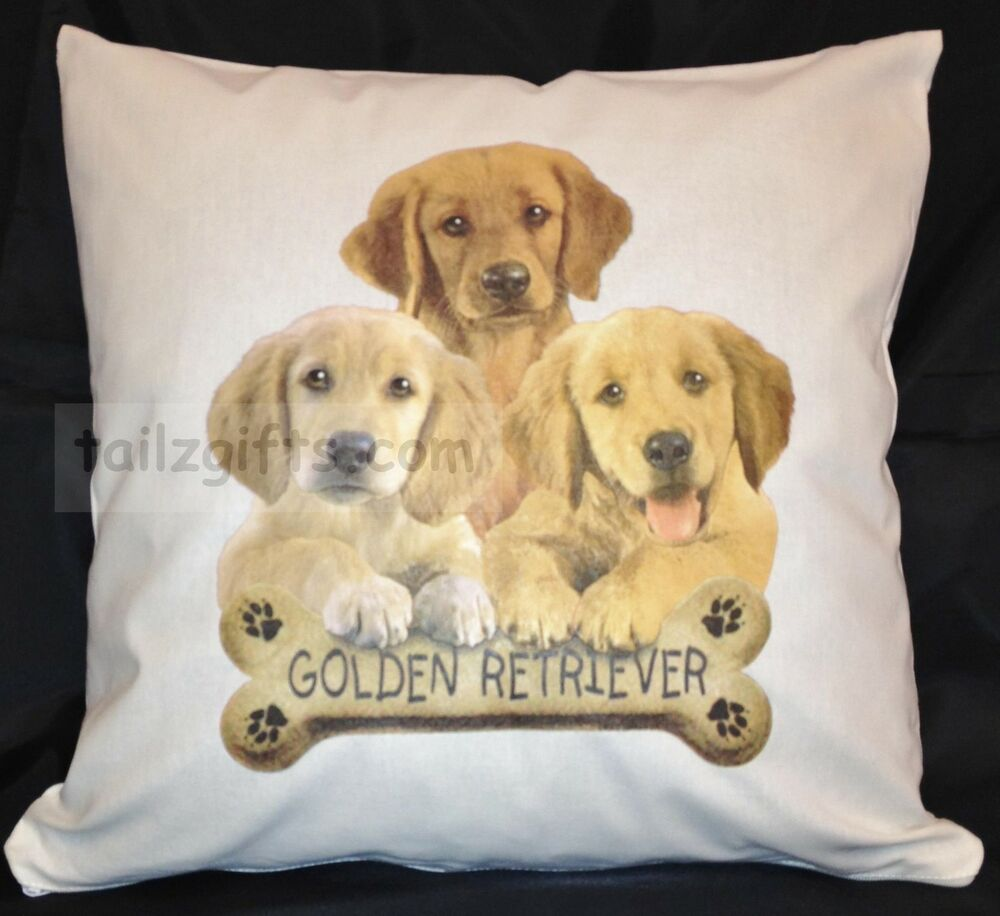 golden retriever puppy breed of dog cotton cushion cover perfect gift ebay. Black Bedroom Furniture Sets. Home Design Ideas