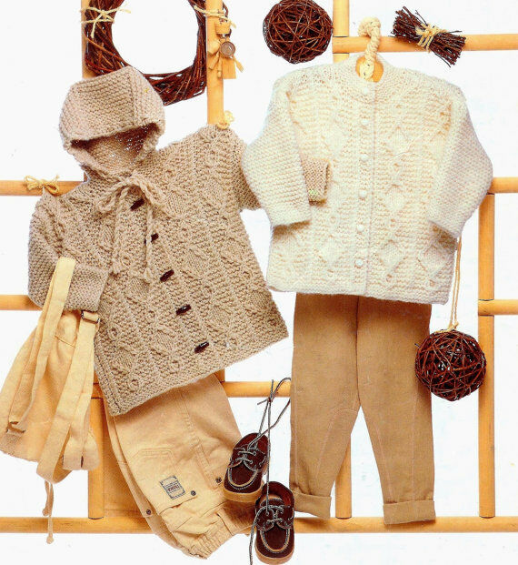 Knitting Pattern For Toddler Duffle Coat : chunky jacket and duffle coat knitting pattern 99p eBay