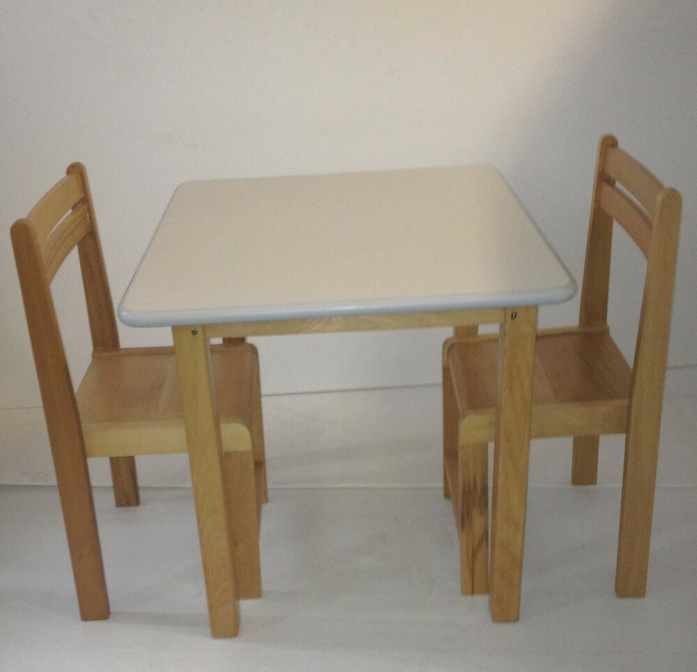 Kids beech wood table and chairs classroom