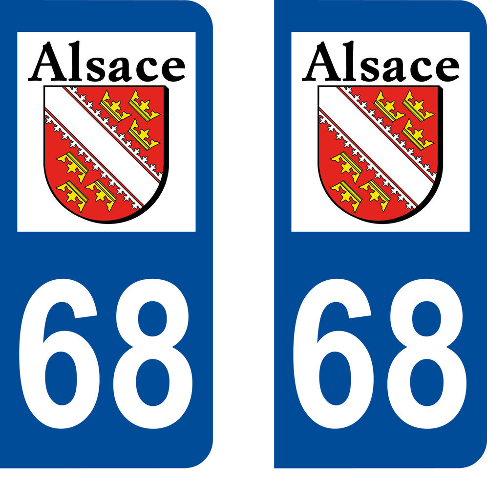 sticker autocollant plaques immatriculation auto d partement 68 alsace haut rhin ebay. Black Bedroom Furniture Sets. Home Design Ideas