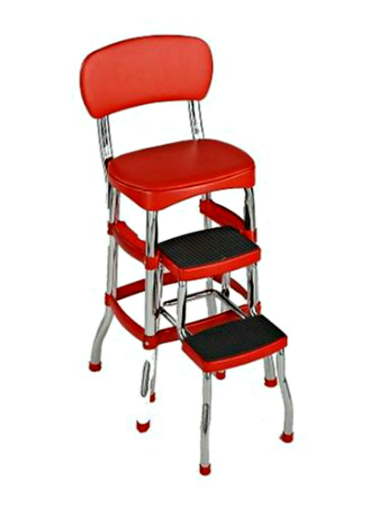 Retro chair counter step bar stool chrome red ebay