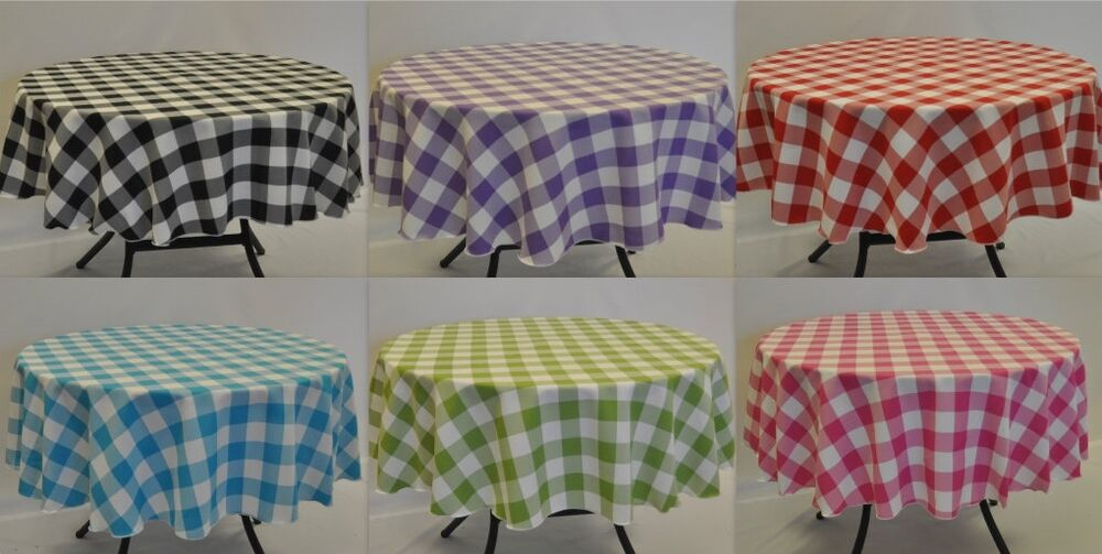 Round Gingham Polyester Tablecloth Approx 1 5 Quot Square