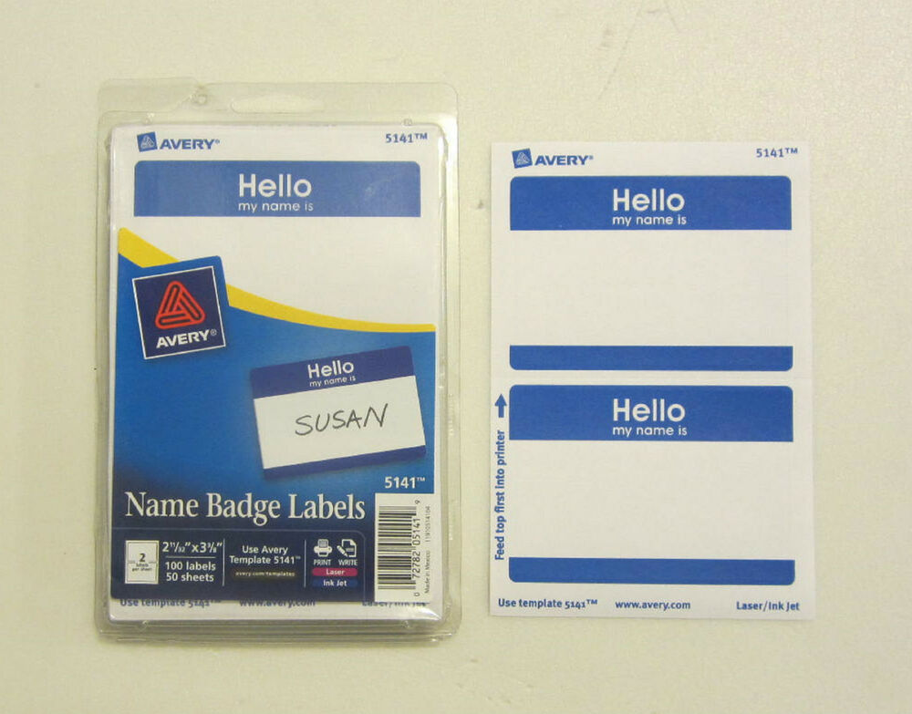 50 avery dennison blue  u0026quot hello my name is u0026quot  name tags labels