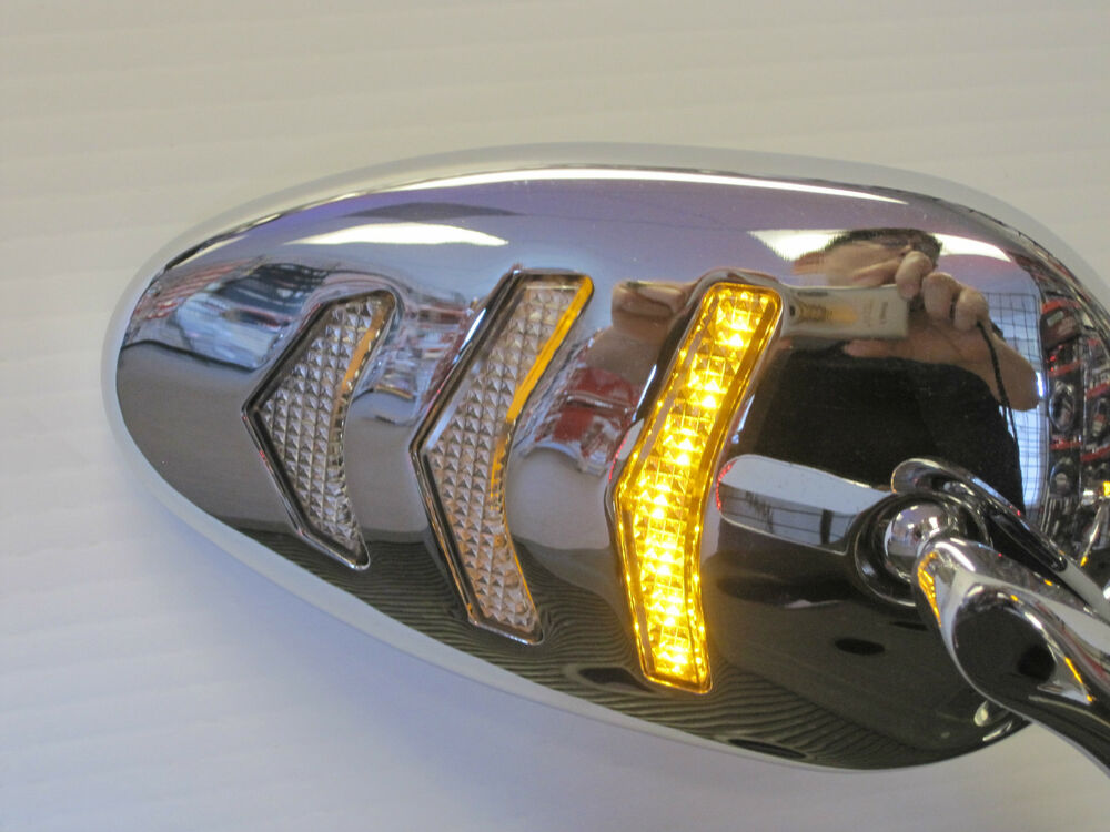 Sequential Led Turn Signal Motorcycle Mirror Set In Chrome