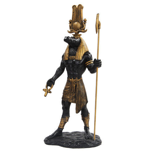 sobek crocodile god statue museum replica god of the nile black gold ebay. Black Bedroom Furniture Sets. Home Design Ideas