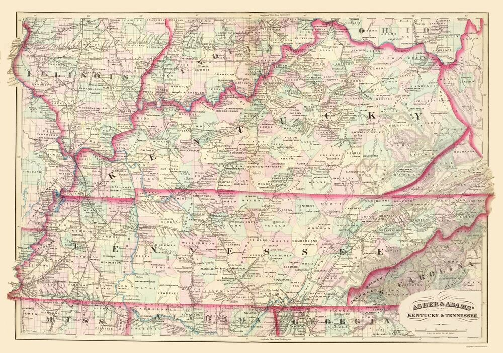 Old State Map  Kentucky Tennessee  Asher And Adams 1874