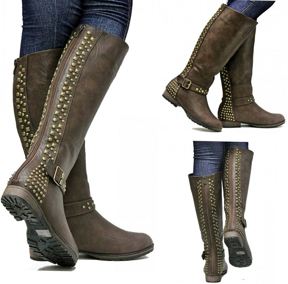 new womens fmr9 brown studded knee high boots us