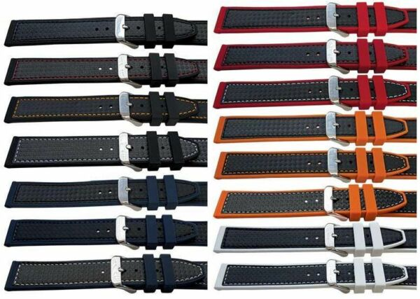 High Quality Rubber Carbon Fibre Look Colour Stitched Watch Strap Band