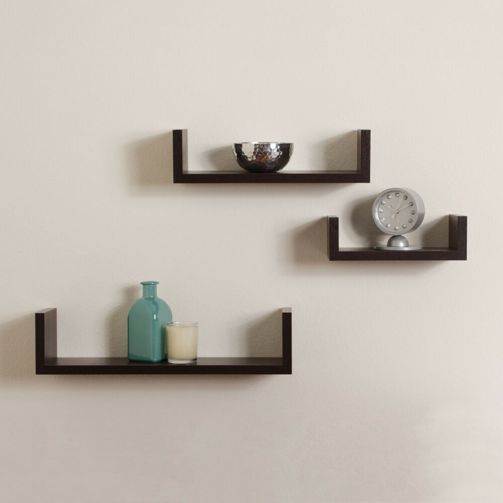 Shelves For Home Decor Ideas: Elegant Floating Shelves U Walnut Brown Finish Set Of 3
