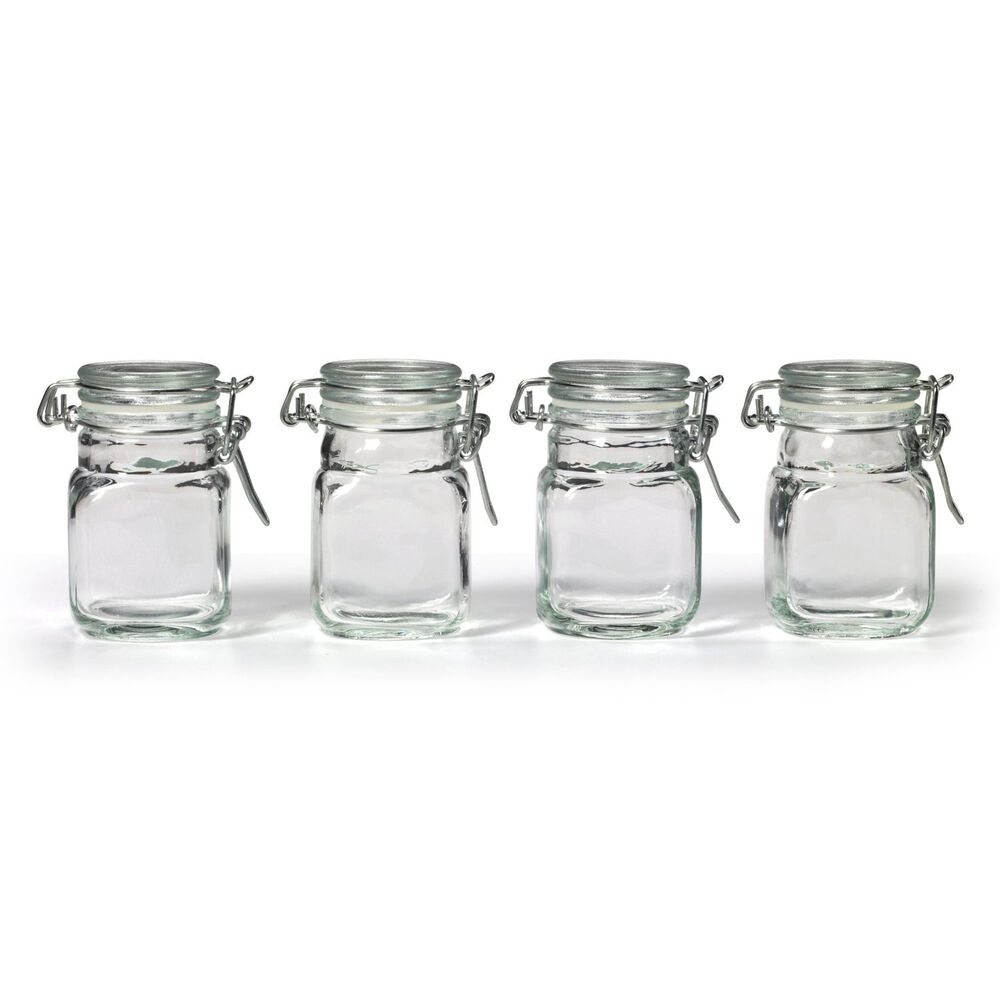 NEW Square Glass Jar w/ Hinge Glass Lid 4 Piece pcs Set