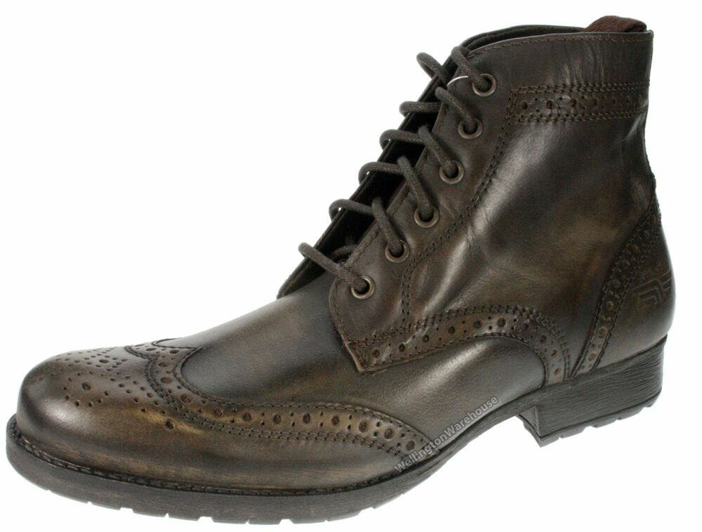 Red Tape Mens Butley brown leather lace up brogue boots | eBay