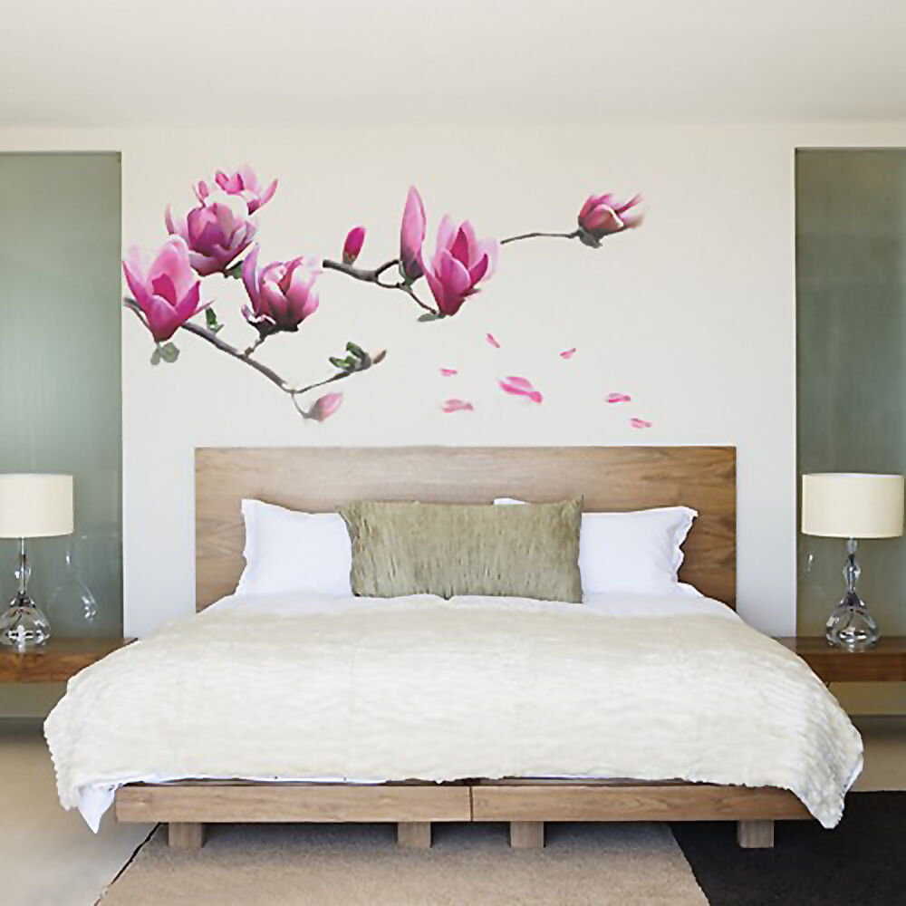Magnolia flowers removable wall sticker decals mural art for Decor mural wall art
