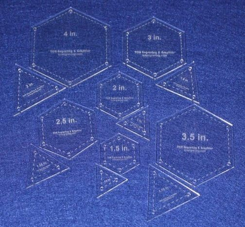 Quilt templates 12 piece set hexagon equilateral for Hexagon templates for quilting free